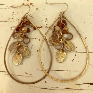 Gold w silver and beading dangly earrings